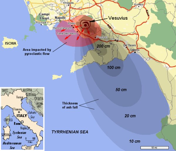location of the restless caldera volcano, campi flegri, at pozzuoli just  west of naples (napoli)  the impacts of the 79 a d  eruption of mt  vesuvius  are